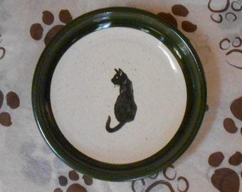 Black Cat Posing Plate, in Dark Green (Small)