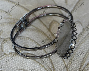 2pcs of Gunmetal plated Black Adjustable bracelet Lace Edged 30x40mm Oval Bezel Setting,bangle findings, bracelet findings