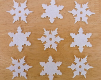 Snowflake Set #11, 10 x Iron on Felt, Glitter Felt snowflakes appliques, 5 each of 2 designs, made to order choose your colour ships from UK