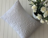 Quilted Pillow Sew You Like It Light Gray Pillow Cover with Pillow Form