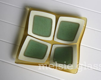 Sea Glass Checkers Anything Dish - pale yellow, sea green and cream-colored glass