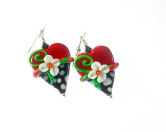 Heart Christmas Lampwork Earrings, Glass Bead Earrings, White Red Flower Earrings, Glass Bead Jewelry, Holiday Earrings, Lampwork Jewelry