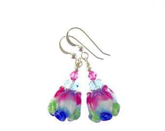 Rose Lampwork Earrings, Glass Bead Jewelry, Pink White Blue Dangle Earrings, Glass Bead Earrings, Tulip Earrings, Lampwork Jewelry