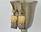 Art Bead, Ceramic, Leaves, Shell Slices, Wim Carpreau Image, Wire Wrapped Earrings with Hypoallergenic Niobium EarWires - RESERVE Listing