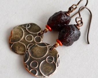 Garnet Nugget Earrings, Raw Garnet, Rustic, Bronze Disc Dangle, Niobium Ear Wire Earrings