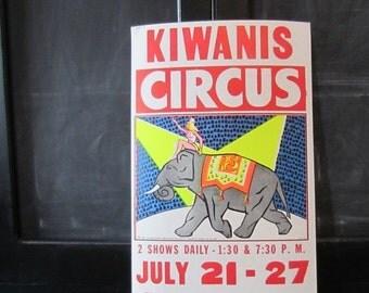 "ON SALE Vintage Circus Poster - Kiwanis - Elephant - Day Glow - Neon - Fluorescent - 14"" x 22"""