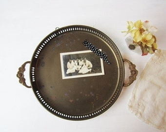 ON SALE SALE Vintage Brass Tray with Floral Handles - Vintage Home Decor - Made in India