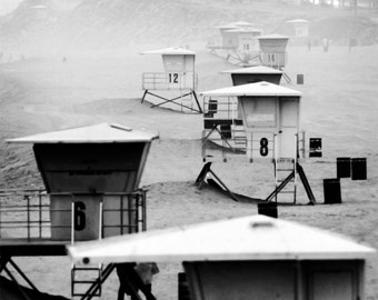 Towers in the Fog - B & W photo of the Huntington Beach Lifeguard Towers, Beach Decor, California, Beach Photograph, black and white