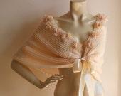 Salmon  Bridal Cape with Flowers-Salmon  Wedding Wrap Shrug Bolero/Hand Knit Mohair-Ready to ship-Custom with your wedding colors