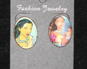 Disney Pocahontas Post Stud Earrings Animated Native American Indian Classic