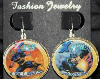 Xmen Cyclops Wolverine Weapon X Marvel Earrings Silver Drop Comic Book