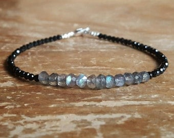 Labradorite Bracelet Mom Gift Black Spinel Bracelet Bead Beaded Bracelets Jewelry Womens Womens Gift for Women Gifts for Her Wife Girlfriend