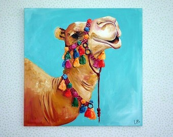 Camel Painting, Camel Art, 30x30 Art, Camel with Tassels, Happy Camel, Animal Painting, Pet Painting, Pet Art