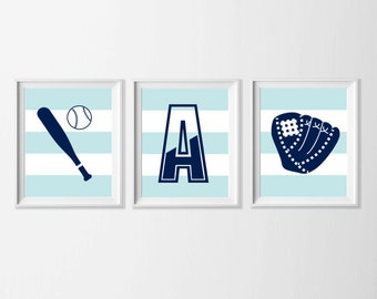 Personalized Baseball Nursery Art , Sports Wall Art , Navy Baseball Sports Wall Decor , Sports Nursery Art , Blue Boy Nursery Art Sports
