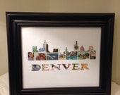 Postage Stamp Art - Denver - Used Postage Stamps - Framed Postage Stamp Art - Wall Art - Colorado