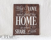 What I love most about my home is who I share it with Wood Sign - 11 x 14 - Ready to Ship
