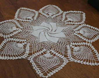 Round Handmade Crochet Doily Table Topper White Cotton Large 25 Inch Diameter