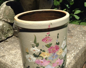 Decorated floral crock