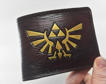 Zelda Inspired Hyrule Crest Hand-Tooled Leather Wallet (Mahogany)