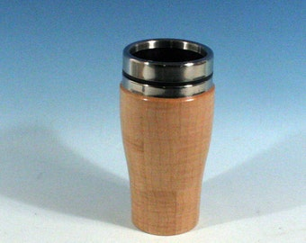Figured Maple Wooden Travel Mug With Stainless Steal Interior