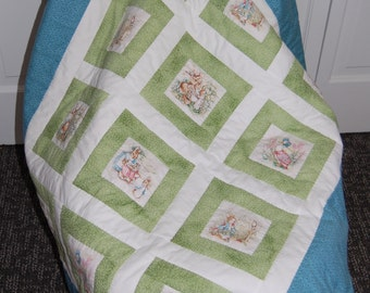 Betrix Potter Baby Quilt, Peter Rabbit, Hand Quilted
