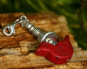Zipper Pull Charm Red Bird, Clasp, Zipper Charms, Key Chain, Beaded zipper pull charm