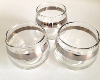 Vintage Silver Banded Roly Poly Set of 3