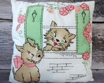 Vintage Embroidery Pillow Retro 1940's Kitten and Puppy Design at Window with Flowers and Shutters Adorable Home Accent Cotton Handmade Old