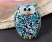 Big Owl Bead Focal Turquoise Handmade Artisan GlassBead, appx 33mm, 3mm hole, big hole, jewelry supplies