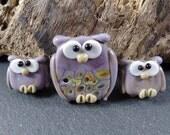 Set of 3 Owl Beads Purple Violet, Handmade Lampwork Artisan Glass Beads, jewelry supplies, Murano