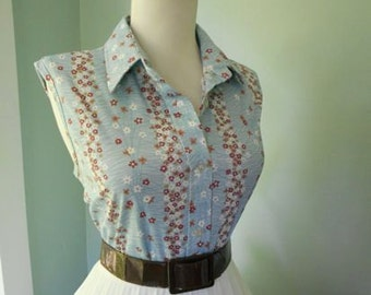Sexy VLV Vintage 1960s Brown Blue & White Floral SLEEVELESS  Blouse Top