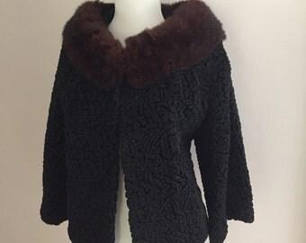 Vintage 1950s 1960s Cropped Black Persian Wool Bolero Shrug Jacket w Brown Fur Collar Mink ?