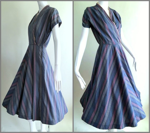 ViNtAgE 40s 50s Day Dress Viva Hostess Mad Men Rockabilly Gown Mid Century House Swing Dance Dress
