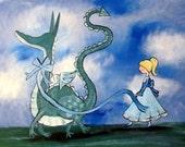 Nursery Decor Acrylic Painting Whimsical Art Storybook Art Kids Wall Art Baby Room Dragon Painting Dragon Art Fairytale Nursery Princess Art