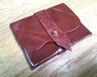 Chestnut Brown Leather Business/Debit Card Wallet or Just a Cute Pouch. Antique Brass Coloured Rivet Closure. Vine Pattern. Eco Friendly.