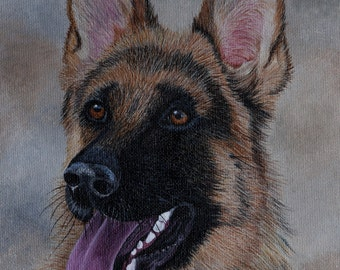 German Shepherd Painting, dogs, dog portrait, dog painting, wall decor, original painting, custom painting