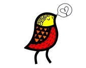 Contemporary Stained Glass Singing Bird in Yellow/Orange/Red (IN STOCK)