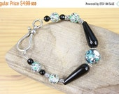 Christmas in July CLEARANCE SALE Black Agate and compressed turquoise ball bracelet