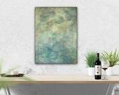 "18x24"" Abstract Painting: Mixed Media Art, Original Abstract Art, Contemporary Art Painting, slate blue, turquoise, gray, grey, ""Turbulent"""