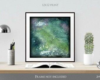 "Galaxy Print, 12x12"" Mixed Media print, Contemporary Art, Abstract Art, Star Print denim blue purple green (305mm) ""Galaxy Series No. 7"""