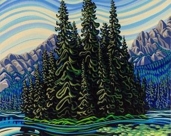 Island Lake , 5x7, art print,ready to frame