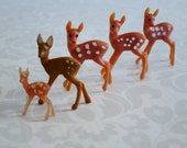 Glitter Reindeer Mini Deer for Putz House Assemblage  /  5 Kitsch Mini Plastic Deer Fawn Bambi  /  Holiday Village Diorama Supplies