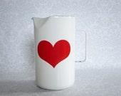 Finel Arabia Kaj Franck Enamel Red Heart Pitcher  /  Mid Century Kitchen Enamel  Pitcher Finel Arabia  /  Valentine Heart FLASH SALE