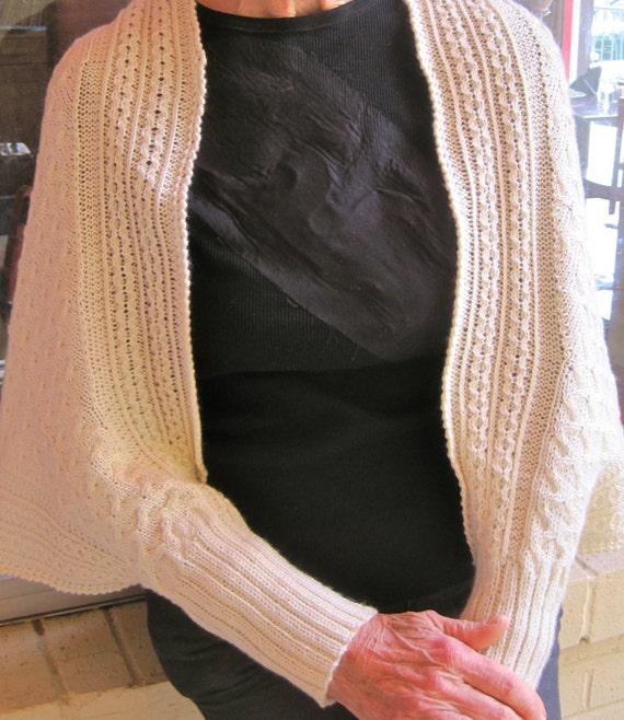 Knitting Pattern Shawl With Cuffs : Knit Shawl Pattern: Longford Cuffed Cabled Shawl Knitting