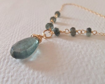 Moss Aquamarine Gemstone Briolette Handmade Wire Wrapped Necklace/Pendant with Gold Fill