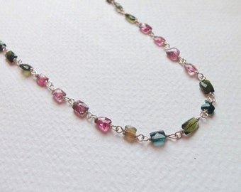 Rainbow Tourmaline Natural Gemstone Wire Wrapped Handmade Necklace with Sterling Silver
