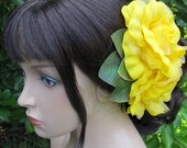Flamenco YELLOW Two Roses Hair Flower Comb