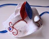 MASK-red white and blue- masquerade mask, 4th of July, Mardi Gras,ballroom, fairy,Venetian, Halloween