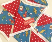 Vintage 1940s Little Red Riding Hood Fabric Bunting 12 Flags Fairytale