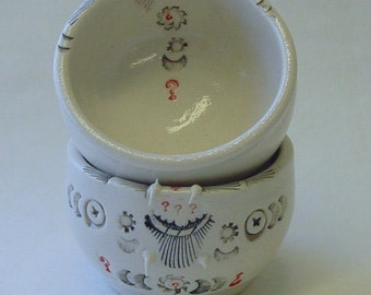 Two Small Pointed Questions Porcelain Bowls or Saki Cups